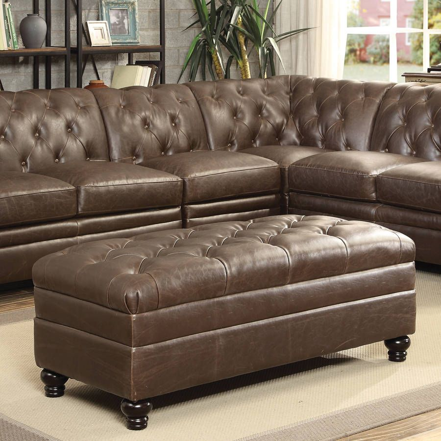 Roy Traditional Brown Leather Match Ottoman