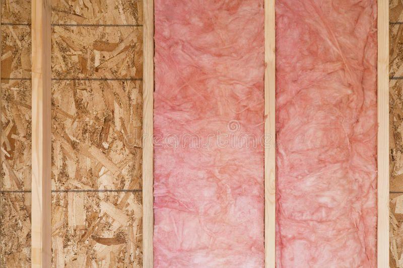 New Wall With Fiberglass Insulation Close Up Of Strips Of Pink Fiberglass Insul Spon Close Stri Attic Insulation Fiberglass Insulation Attic Renovation