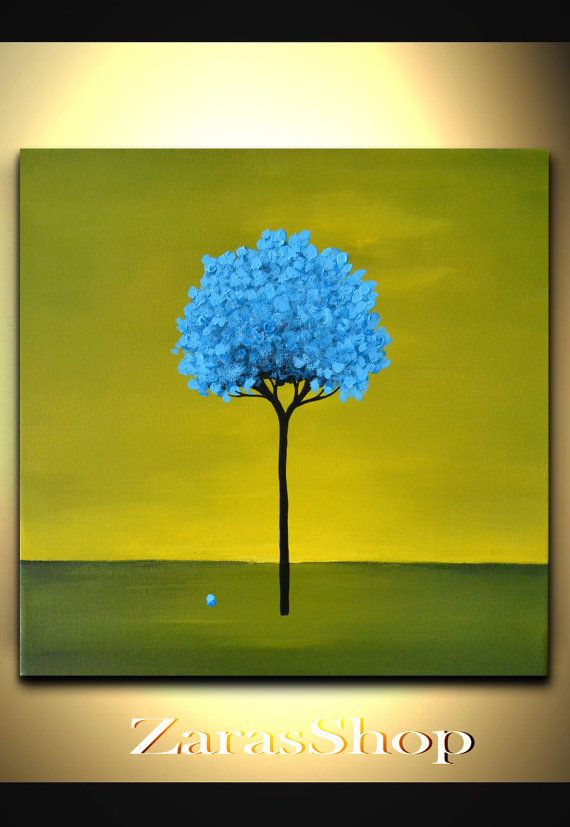 Abstract art for kids, colorful abstract paintings, fun wall art decor, funky blue tree painting