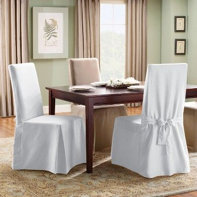 Prime Cotton Duck Long Dining Room Chair Slipcover Natural Sure Download Free Architecture Designs Madebymaigaardcom