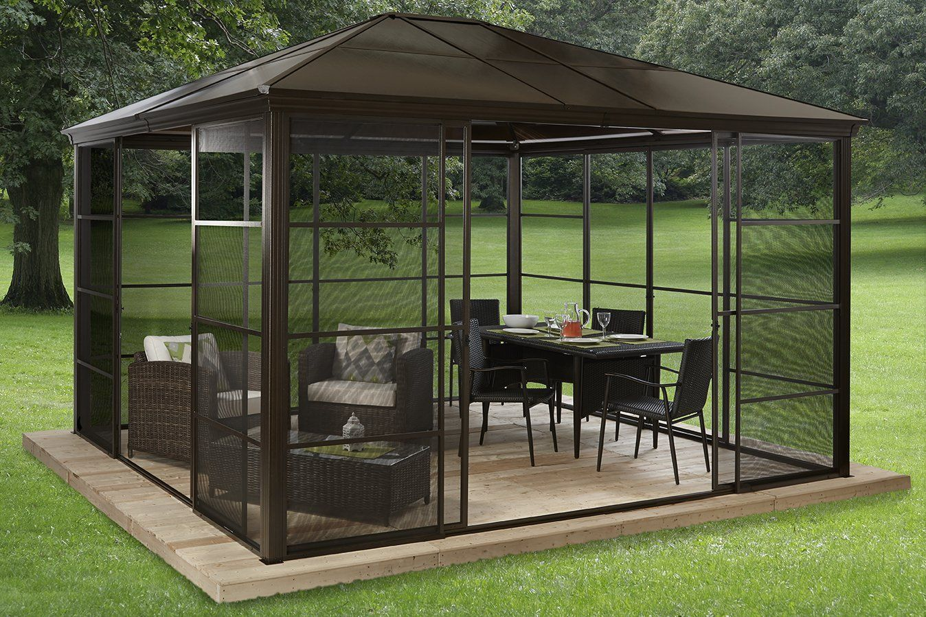 Amazon.com : Gazebo Castel #39   Screen House 12u0027 X 14u0027 Aluminum 4 Sliding  Doors : Patio, Lawn U0026 Garden