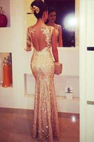 Mermaid Sweetheart Long Sleeves Gold Backless Evening Dresses Uk