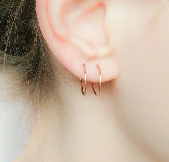 Small Hoop Earrings Hoops Gold Rose Filled Slee