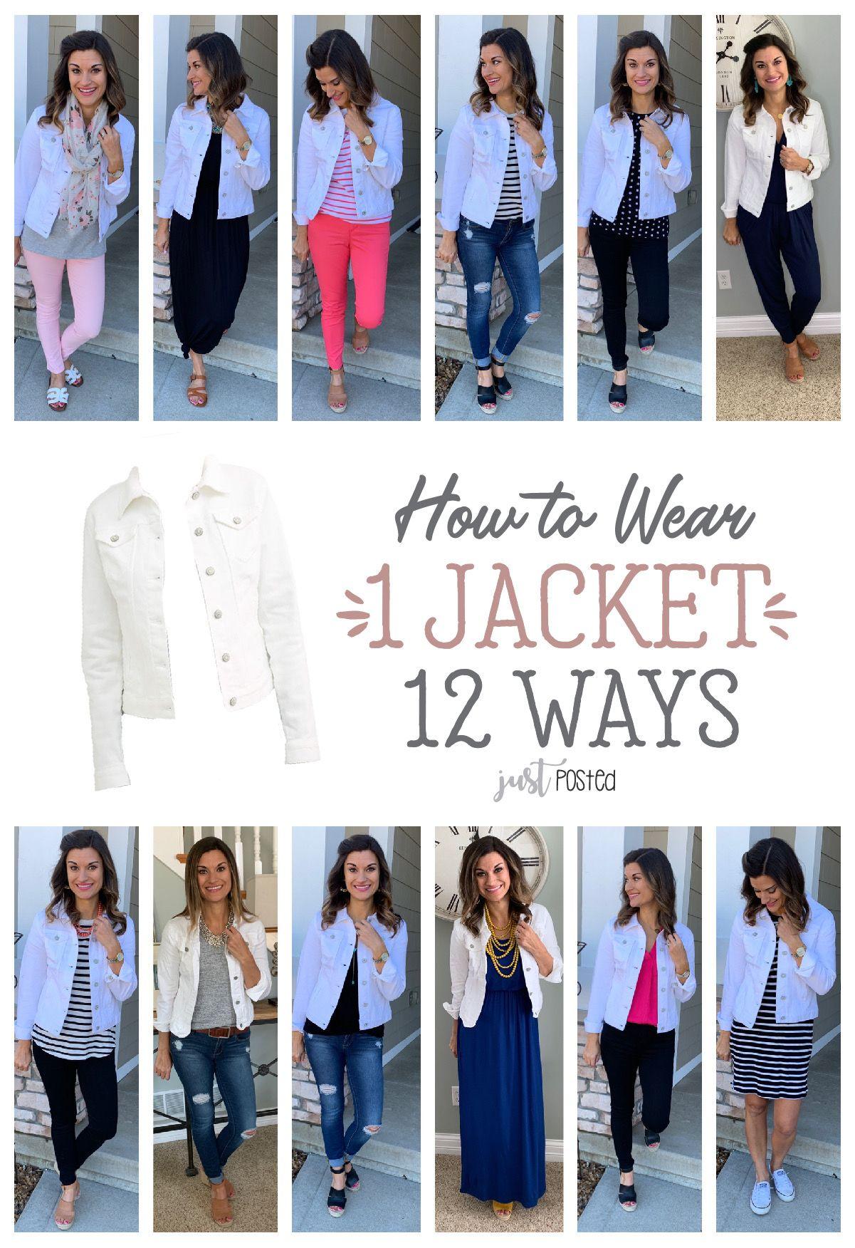 How To Wear One White Jacket Twelve Ways Just Posted White Jean Jacket Outfits Jean Jacket Outfits White Jean Jacket
