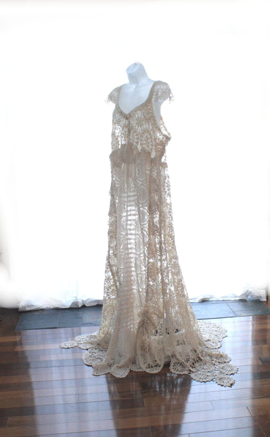 Edwardian Style Wedding Dress, Upcycled Vintage Crochet Lace Wedding ...