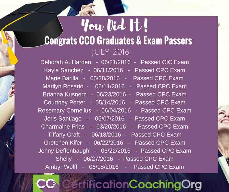Caps off to our new CCO graduates, CIC and CPC Exam passers! Well ...