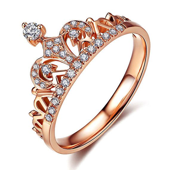 Promesa De Oro Rosa Corona Anillo Encanto Con Clara Cz Anillo Fashion Rings Crown Ring Princess Tiara Ring
