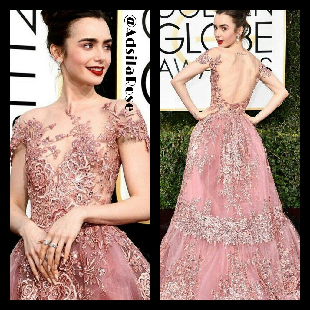 #LilyCollins at the Golden Globes