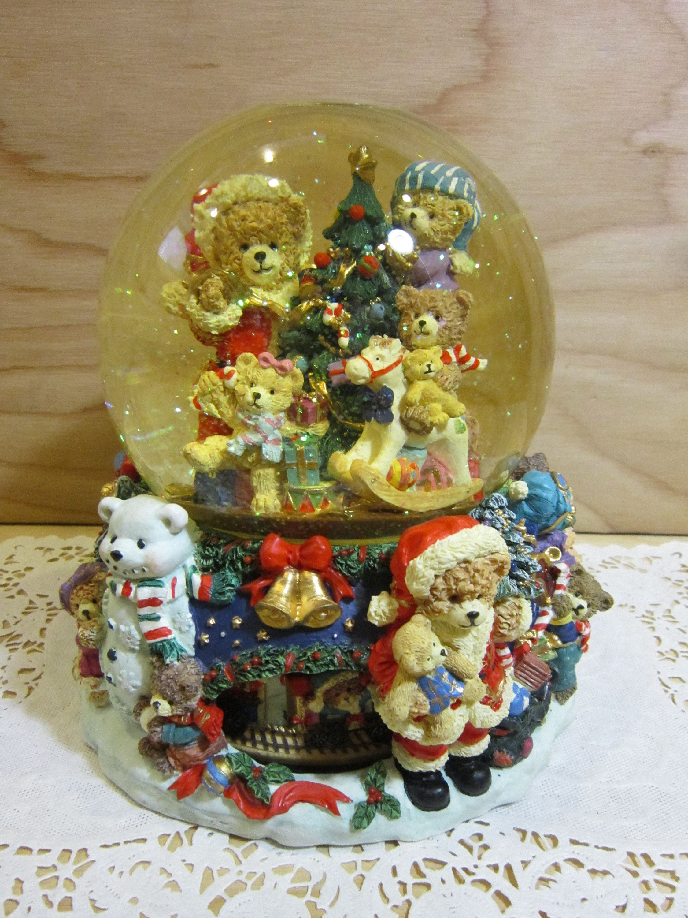 Large Kirkland Christmas Santa Bear and Bear Friends Musical Water ...