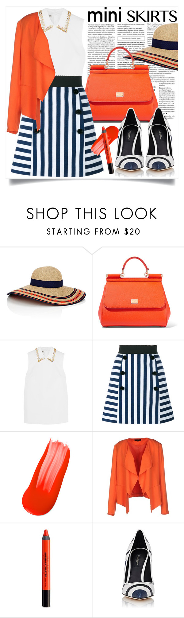 """""""Mini skirts"""" by ailav9 ❤ liked on Polyvore featuring Eugenia Kim, Dolce&Gabbana, Miu Miu, SELECTED and Urban Decay"""