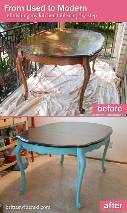 Refinishing 101 From Used To Modern Dining Table Furniture Makeover Furniture Refinishing Kitchen Tables