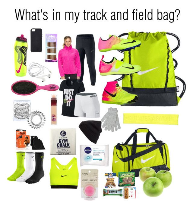 What S In My Track And Field Bag By Gingervaulter On Polyvore Featuring Nike Columbia Goody Invisibobble Maybelline Nivea Eos Bp Under Armour