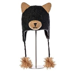 Kids black bear knit hat