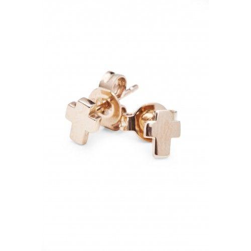 MINI CROSS STUD EARRING ROSE GOLD - Made in 14 c rose gold, 1800 sek, Designed By: Isabel Lennse
