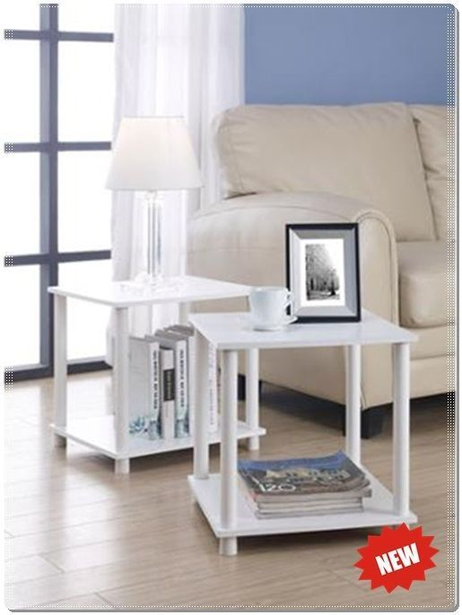 SET OF 2 WHITE END TABLES STORAGE CUBE SHELF SIDE NIGHTSTAND COFFEE TABLE  DECOR Mainstays No