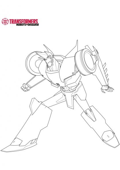 Sideswipe Transformers Robots in Disguise Coloring Page Golf