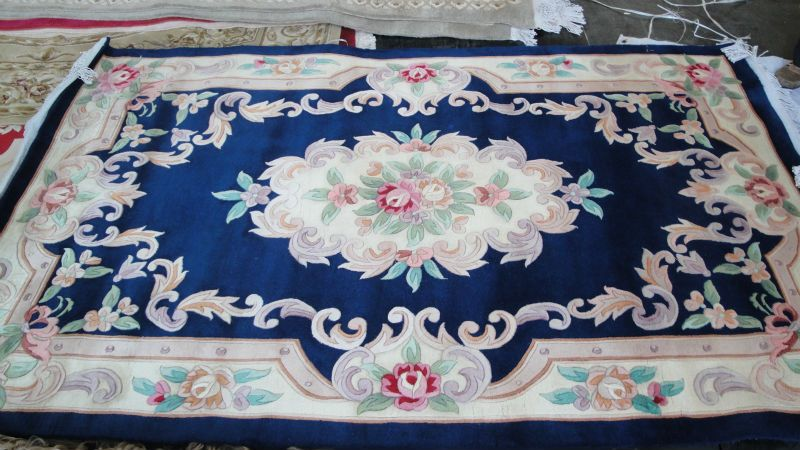Hand Knotted Pink Wool Carpet Hand Knotted French Chinese Aubusson