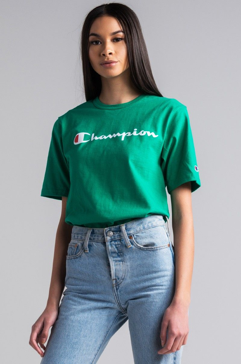 2c383dc39c1f Front View Champion Womens Reverse Weave Script Tee in Kelly Green ...