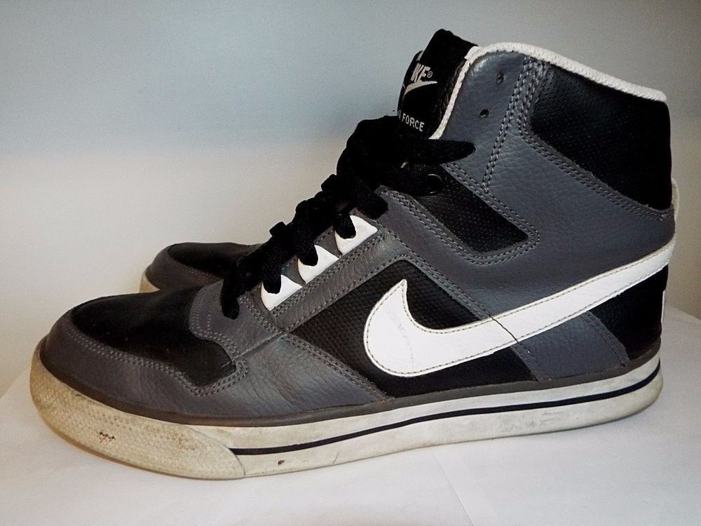 descuento de venta caliente zapatos para correr salida de fábrica Nike Delta Force leather high tops Mens size 10.5, EUC Black,Gray ...