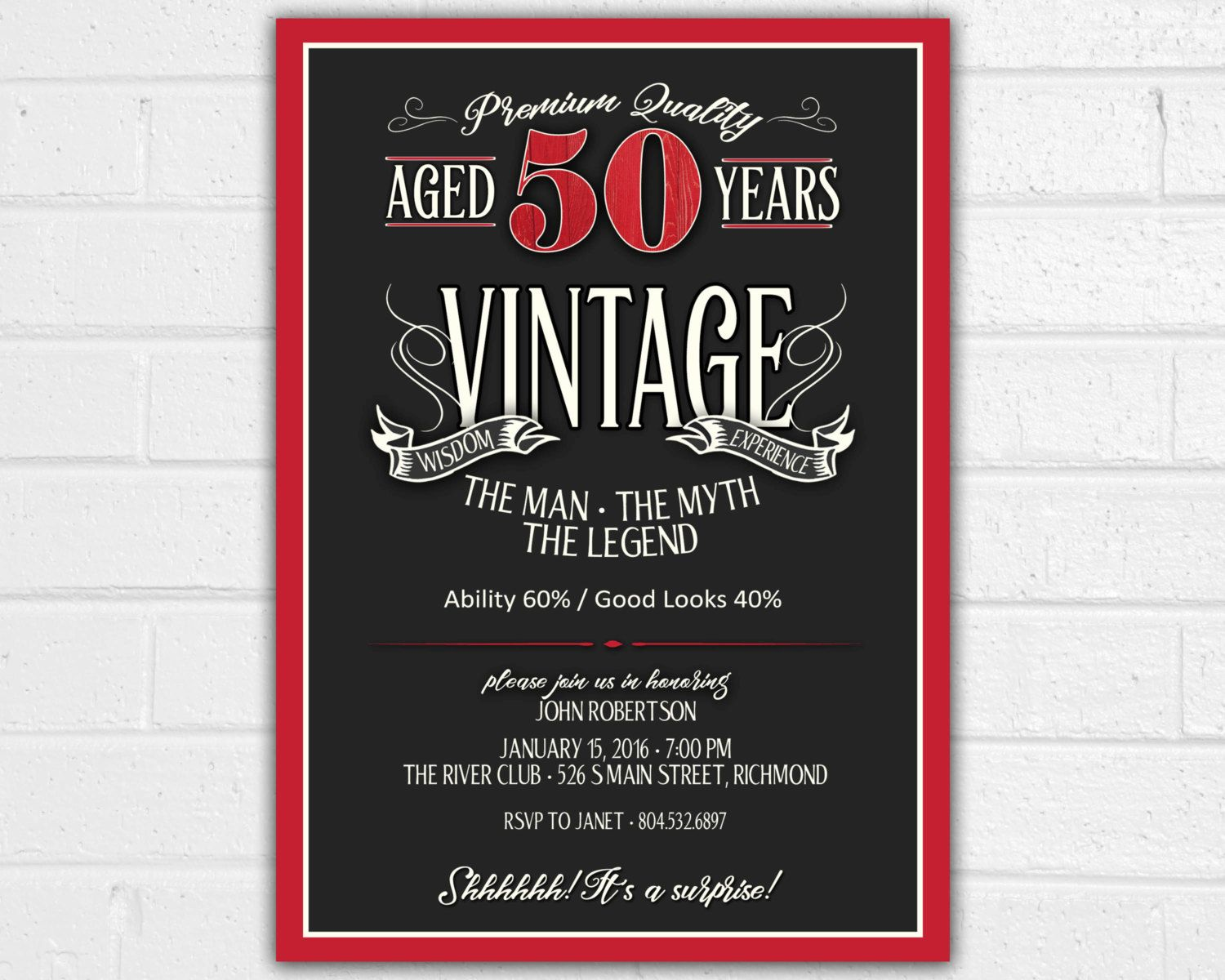 50th birthday invitation for men jpeg printable aged to