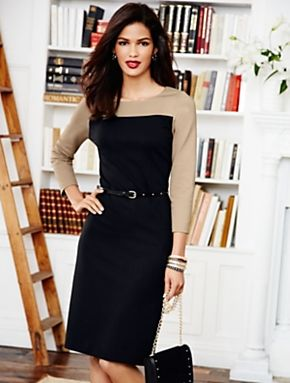 Black, white, travel-friendly and chic: a perfect dress for a business woman! #workwear #officefashion Talbots - Colorblocked Dress | Dresses | Misses