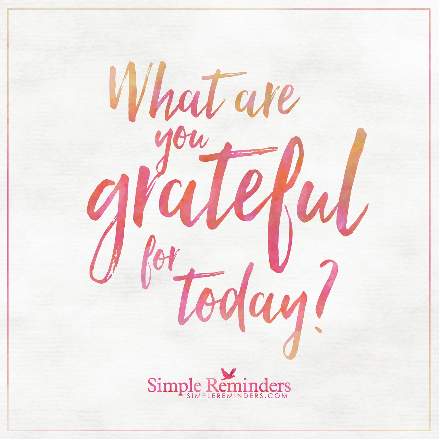 Good morning, what are you grateful for today or this year