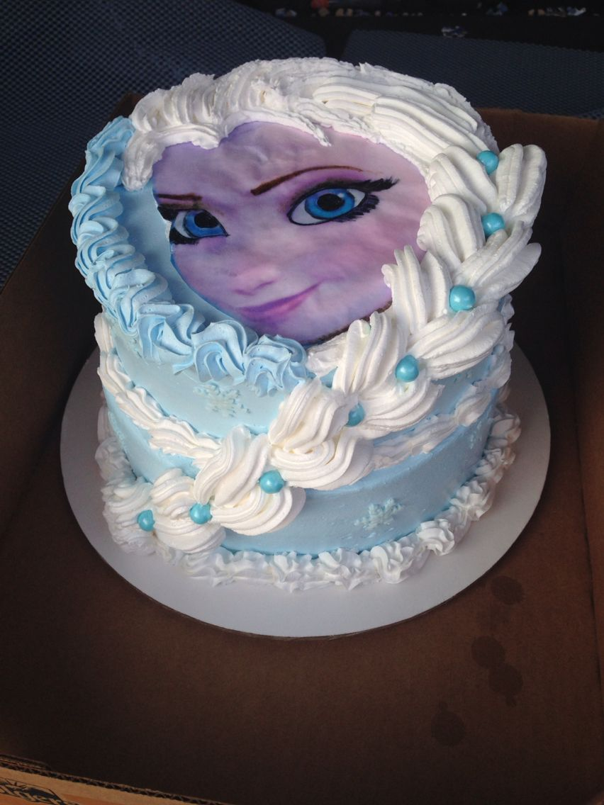Frozen Whipped Topping Cake With Printed Elsa Not As Smooth As I