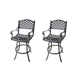 Pleasing Garden Treasures Set Of 2 Ashcreek Aluminum Swivel Patio Bar Lamtechconsult Wood Chair Design Ideas Lamtechconsultcom