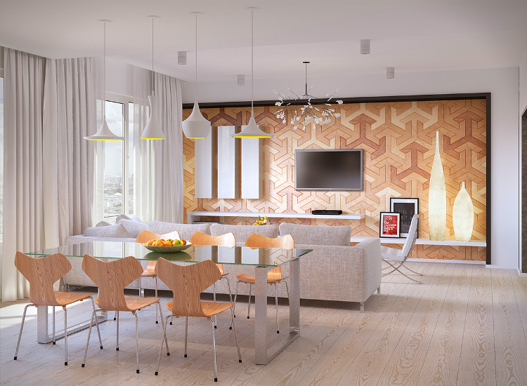 Meuble salle à manger moderne de style scandinave chaises en bois parquet massif et