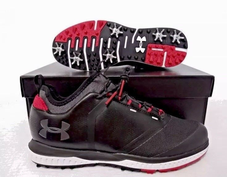 best service 04368 72e9d Mens Under Armour UA Tempo Sport 2 Hybrid Golf Shoe Cleats Black Red MANY  SIZES