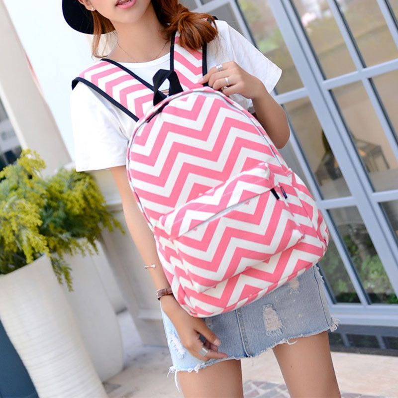 Backpack Women Zipper Zig Zag Printed Satchel Bookbag Computer Shoulders Bag Rucksack Mochila Backpacks For Teenage Girls
