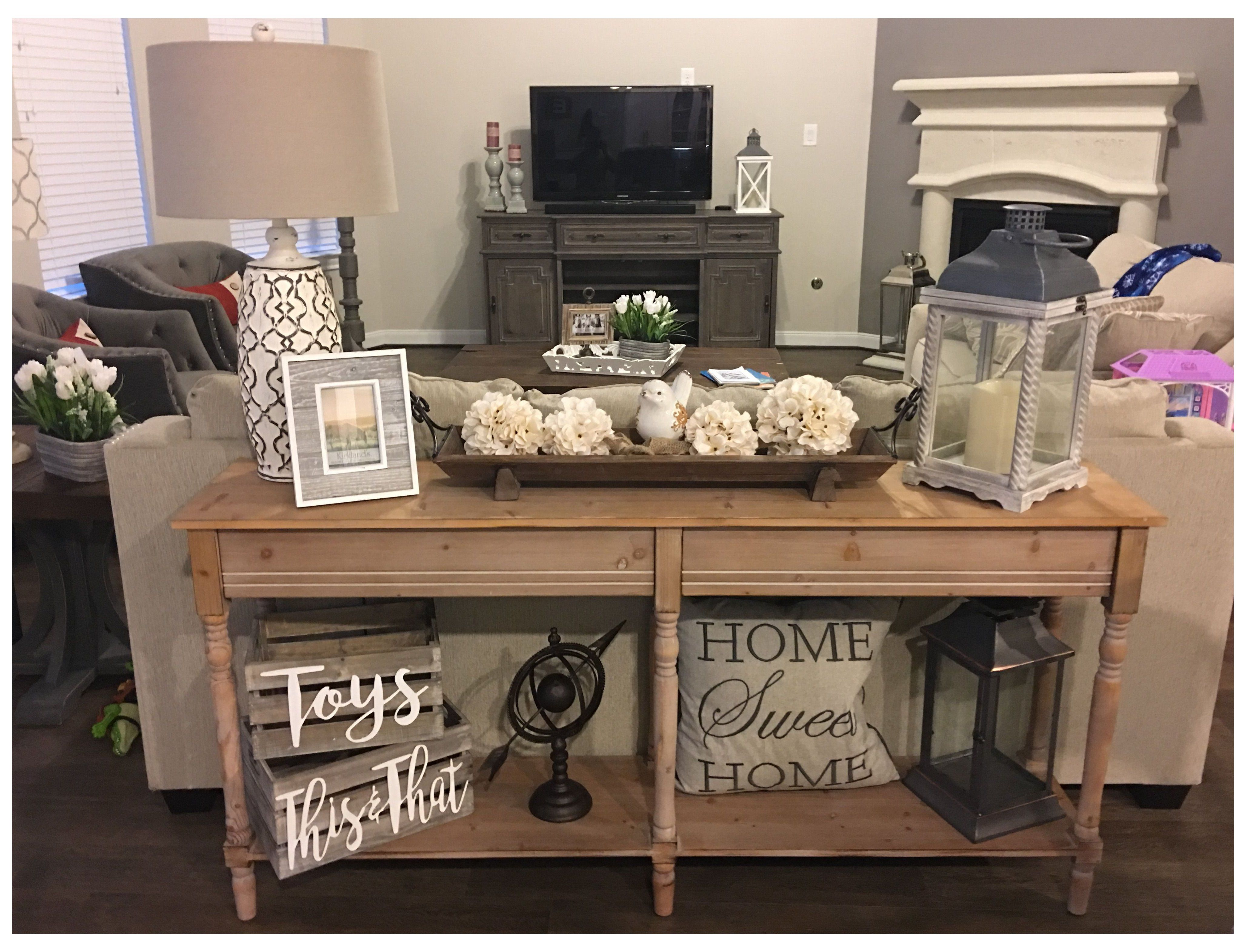 Sofa Table Behind Couch Decor Ideas In 2020 Table Decor Living Room Sofa Table Decor Farmhouse Console Table