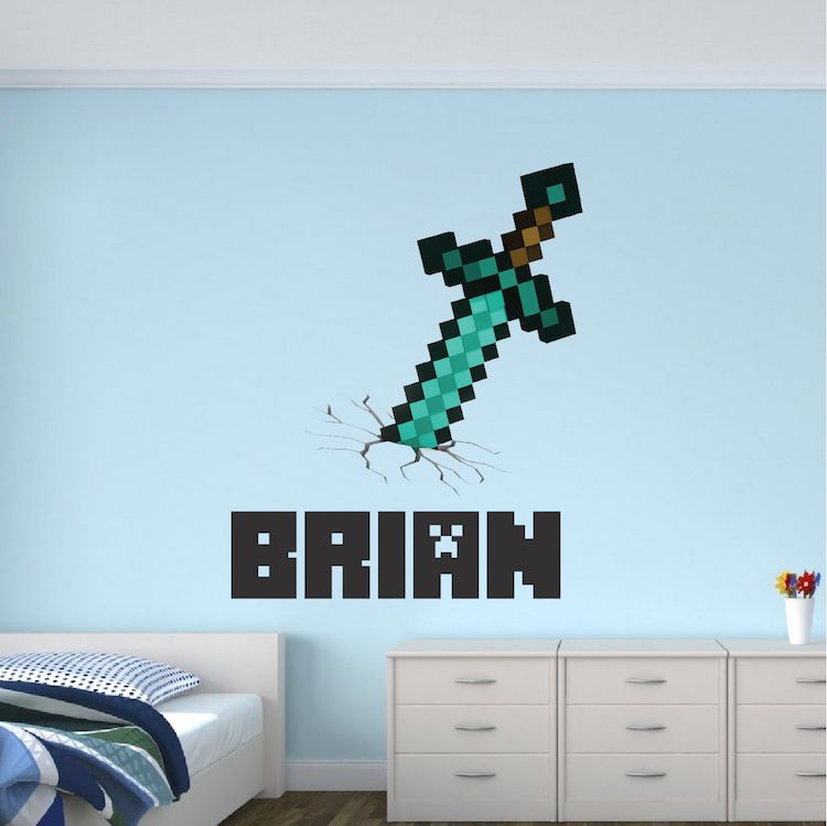 boys sword personalized name wall decal kids bedroom on wall decals id=38247