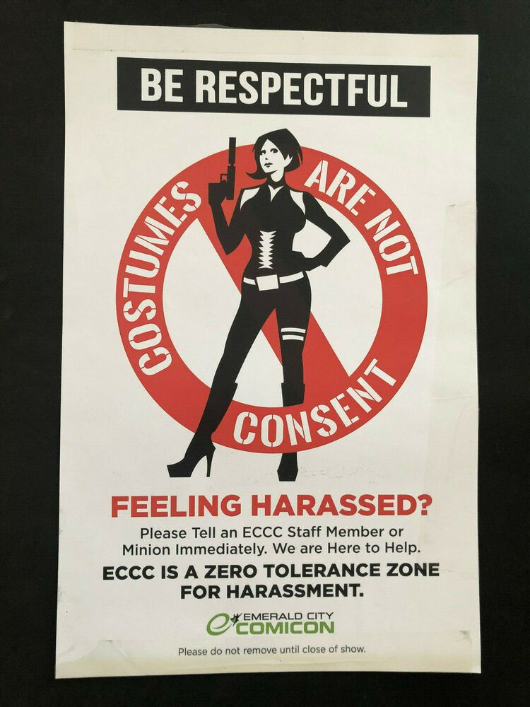 Comicon Costumes Are Not Consent Poster From Emerald City Comic Con 2014 In 2020 Comic Con 2014 Emerald City Comicon