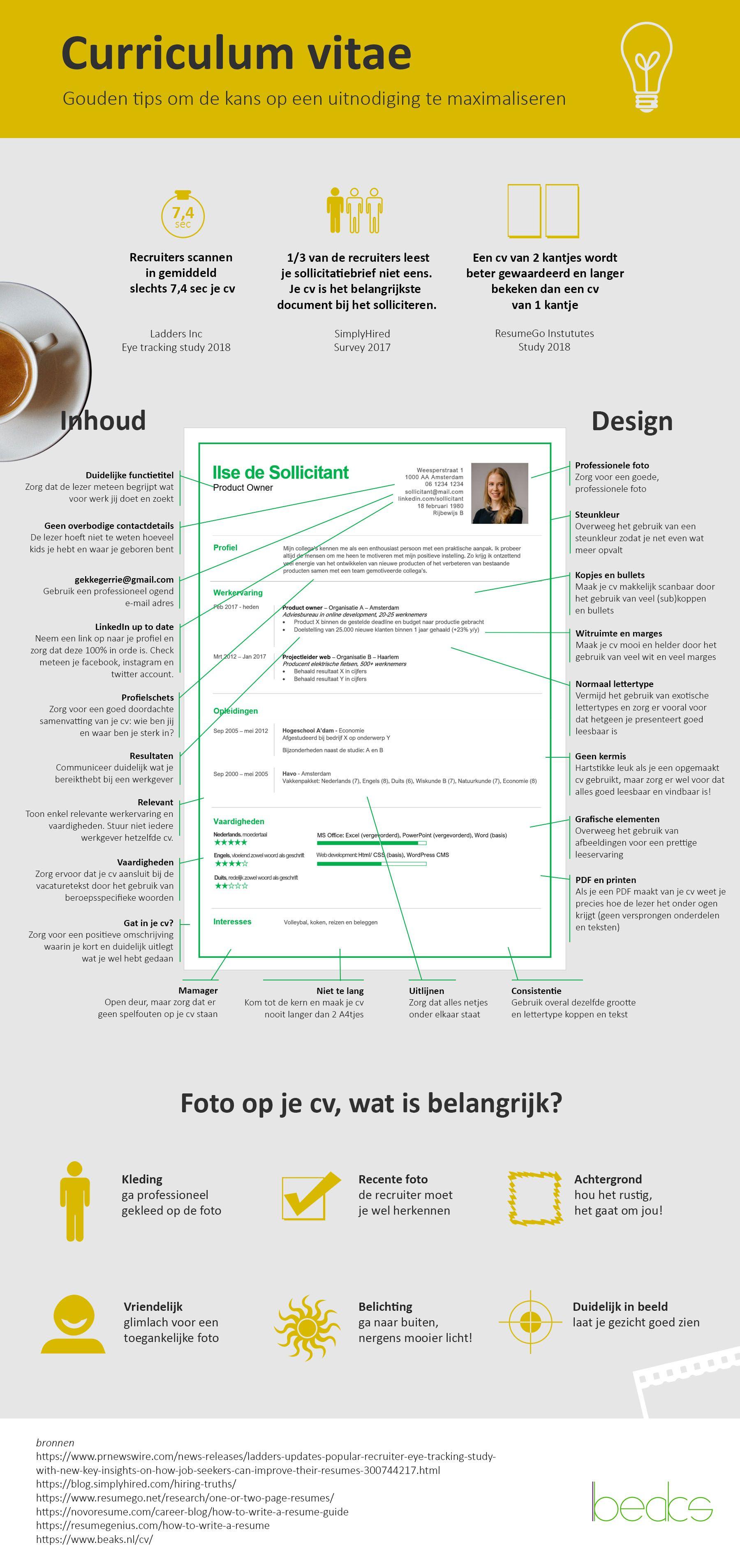 [INFOGRAPHIC] Gouden tips voor je cv Infographic