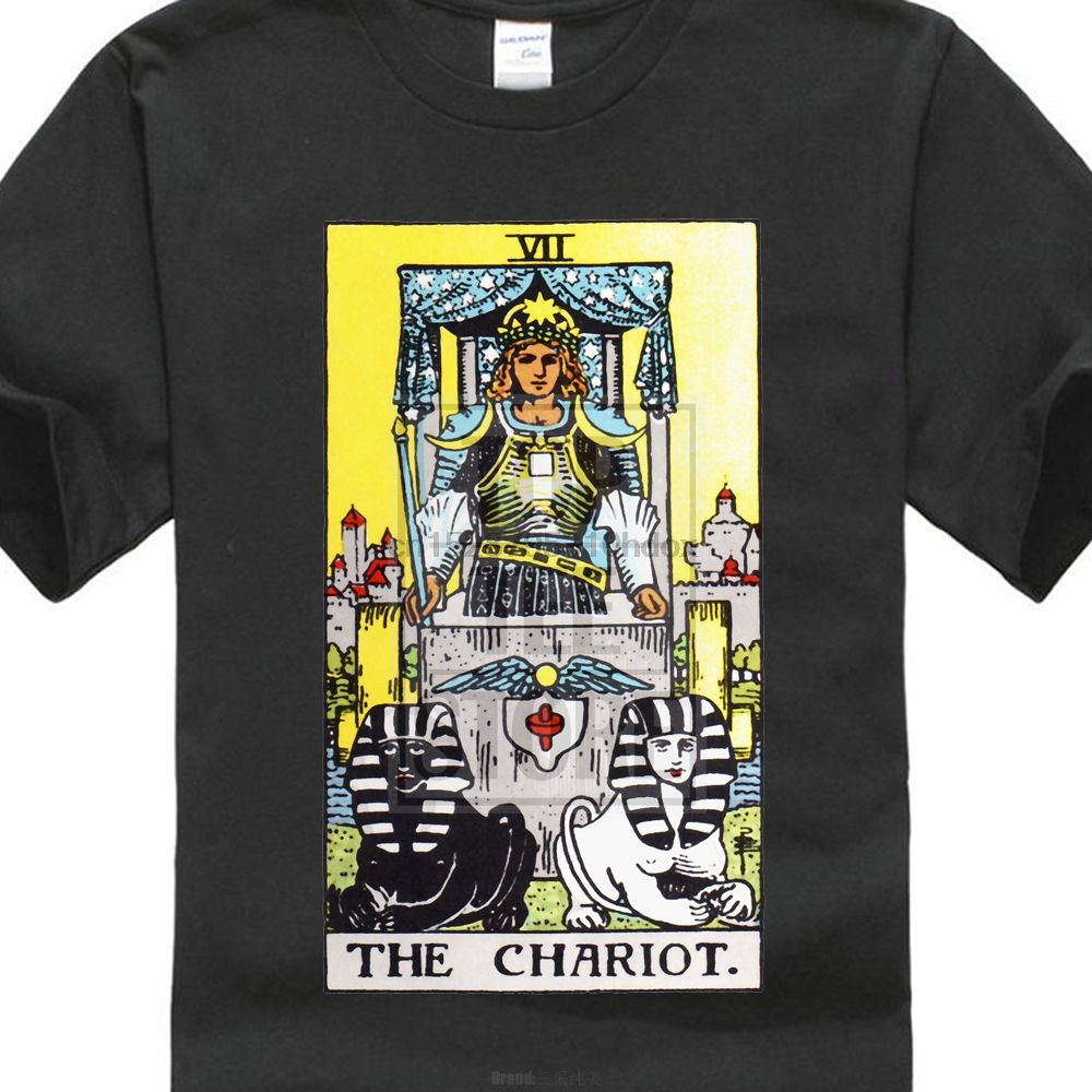 Round Neck Tee The Chariot T13 Ryder Tarot Card Tune Telling Occult Witchcraft Round Neck Tees Occult Tarot Cards