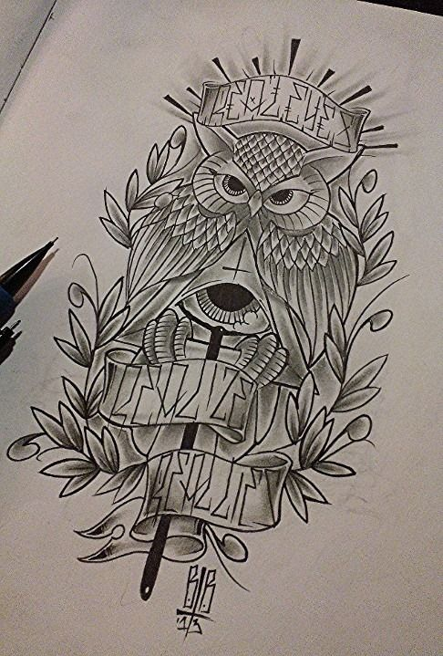 Real Eyes Realize Real Lies Owl Tattoo Sketch By Yelloemello