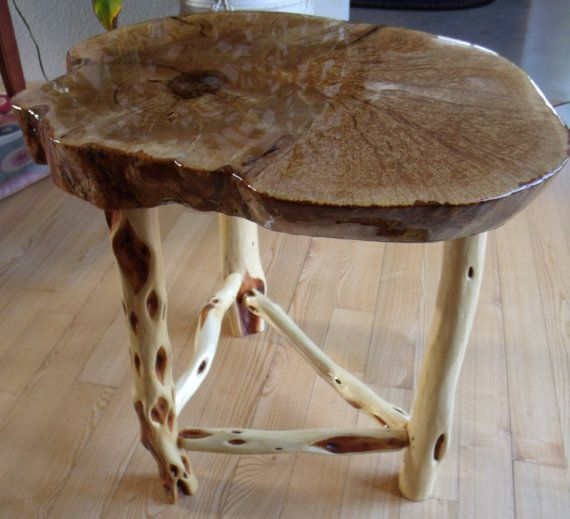 Ash burl wood end table with diamond willow by TheWoodManShop. Ash burl wood end table with diamond willow by TheWoodManShop