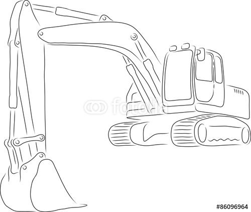 Outline Of Excavator Vector Illustration Stock Image And Royalty Free Vector Files On Fotolia Com Pic 860 Vector Illustration Doodle Drawings Illustration