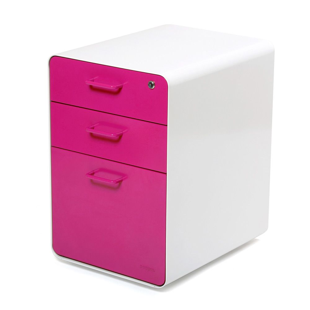 White Pink West 18th File Cabinet 200