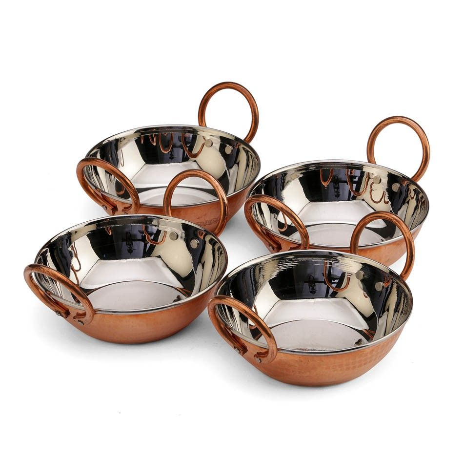 Copper Curry Bowls, Set of 4