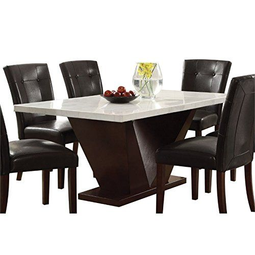 Acme Furniture Acme 72120 Forbes White Marble Dining Table Walnut Finish Dining Table Marble Dining Table Marble Top Dining Table