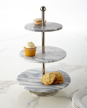 Godinger White Marble Three Tier Server Tiered Server White Marble Tiered