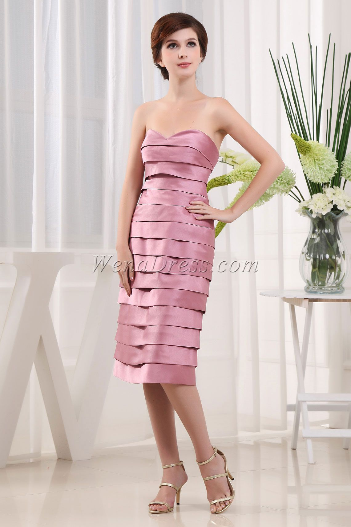 With A Wrap Pink Tea Length Sweetheart Satin Zipper Mother Of The ...