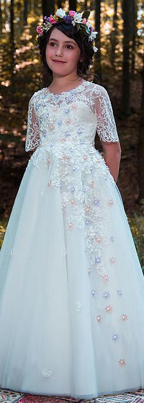 Teal and white wedding dresses  Popular Tulle u Lace Scoop Neckline Short Sleeves Aline Flower Girl