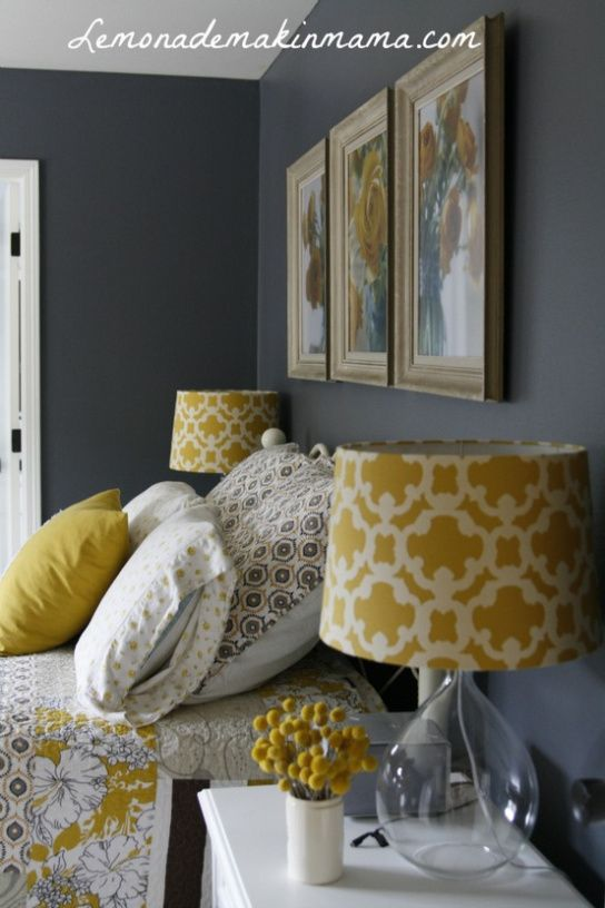 Paint Colors H Our Oakview Yellow Gray Bedroom Mustard And Grey