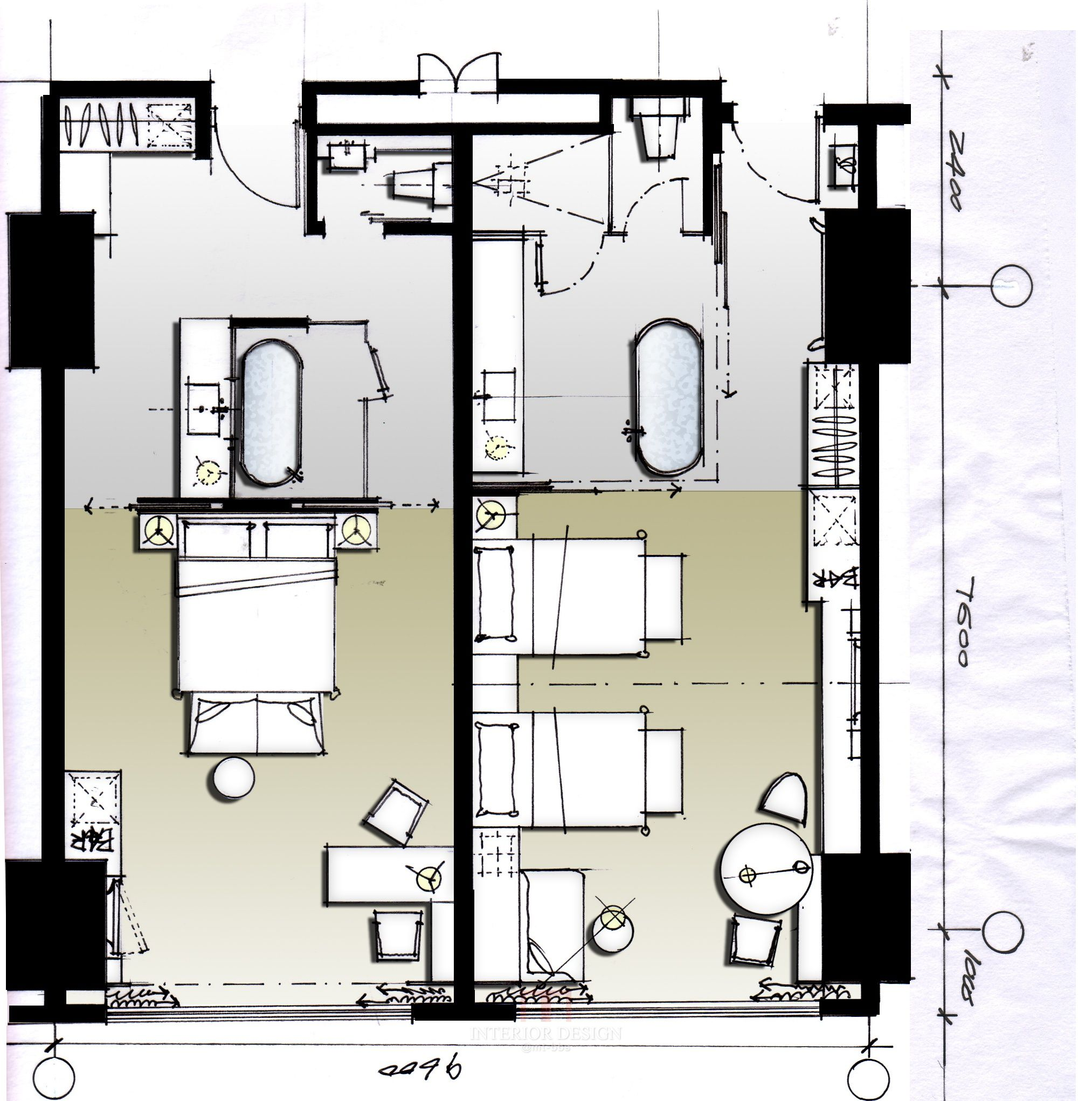 Hotel plan archtects pinterest room interiors and Bedroom furniture layout plan