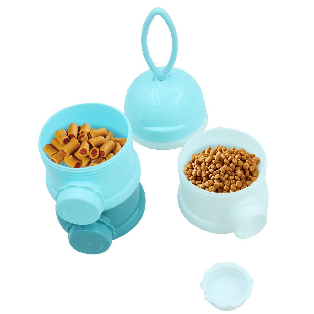 Mihachi Travel Bowls Portable Pet Treat Can Twistlock Stackable Dispenser Spill Proof Multiply Layers Plastic Bot