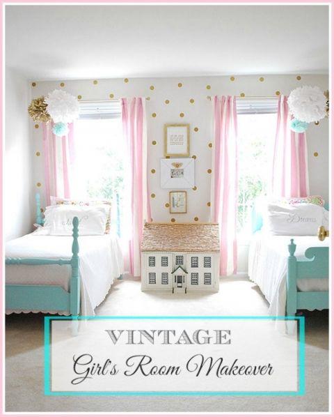 Teenage Girl Room White And Gold Polka Dot Wallpaper My Daughter S Vintage Bedroom Makeover Girl S Room Ideas