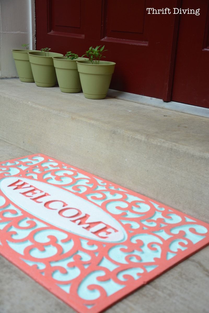My Pretty Custom Welcome Mat Makeover With Spray Paint Welcome Mats Door Mat Diy Decorating Dilemma